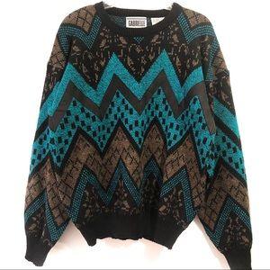 Gabrielle Sweaters - Men's Vintage 80s Long Sleeve Sweater Size Medium